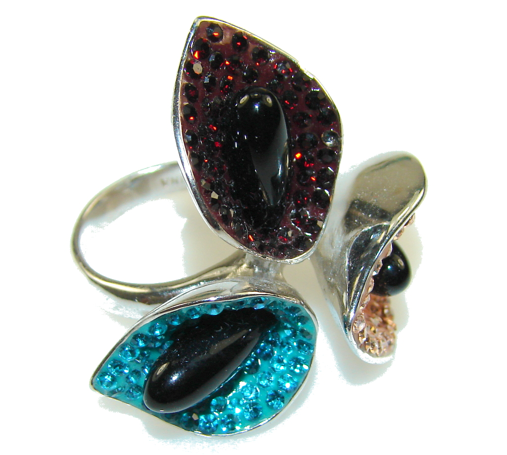 NEW!!! Rich Personality! Black Onyx Sterling Silver Ring s. 6
