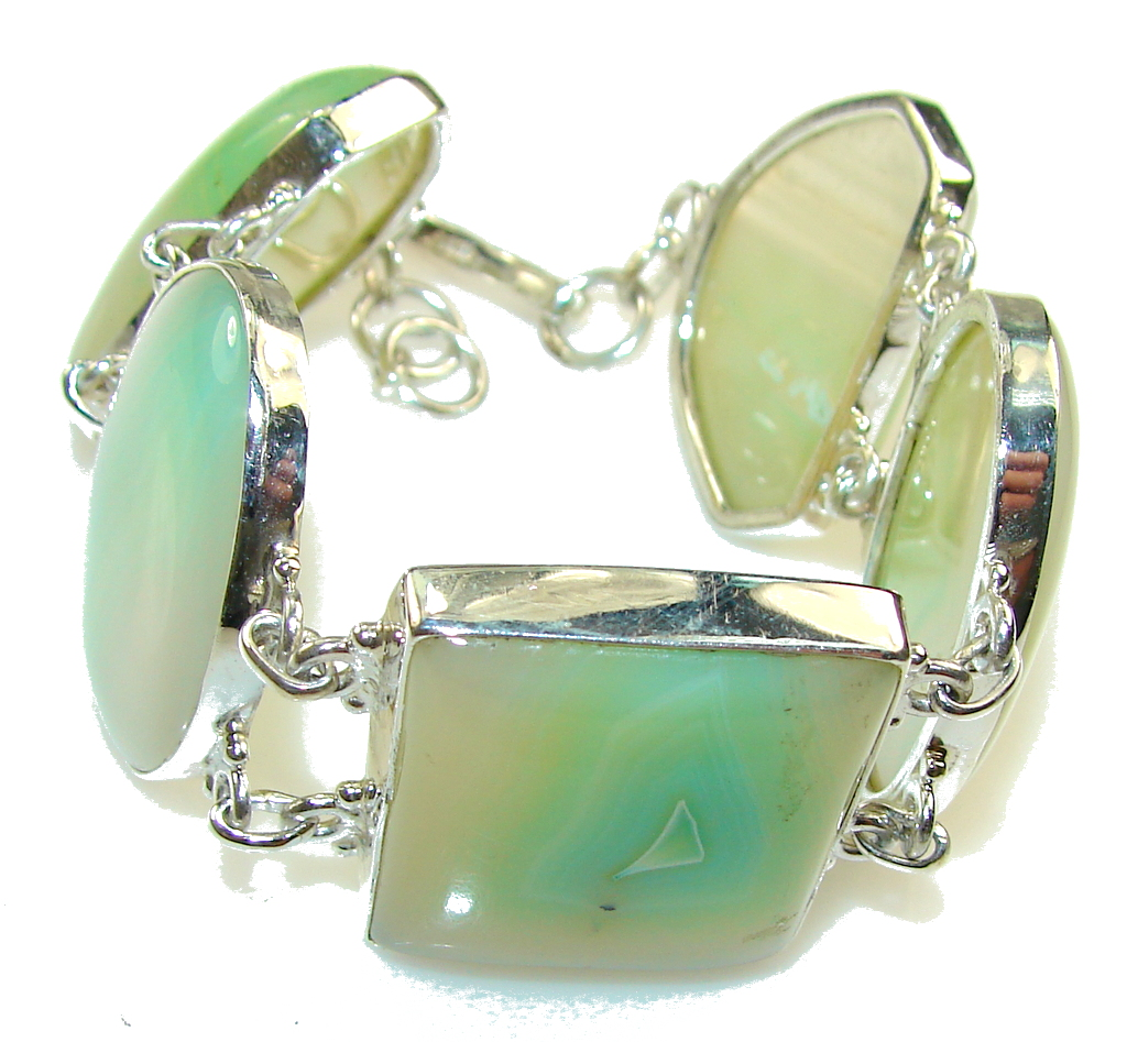 Excellent Light Green Agate Sterling Silver Bracelet