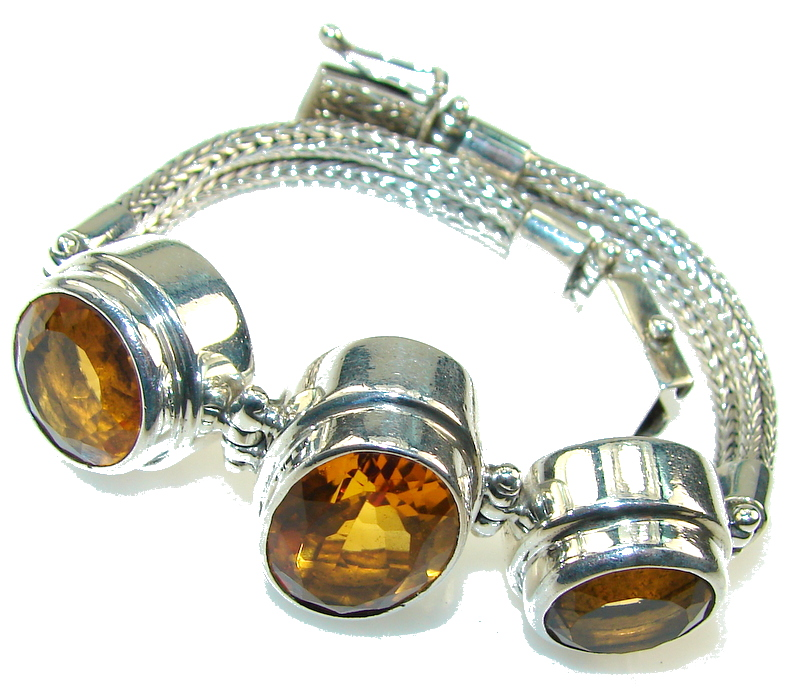Rich Holiday Golden Topaz Sterling Silver Bracelet