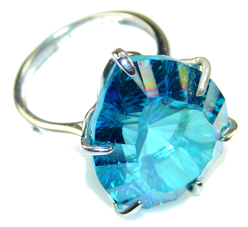 Beautiful Style Of Blue Topaz Sterling Silver Ring s. 8