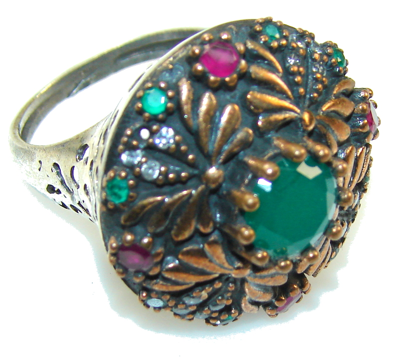 Vintage Style!! Green Emerald Sterling Silver ring s. 8
