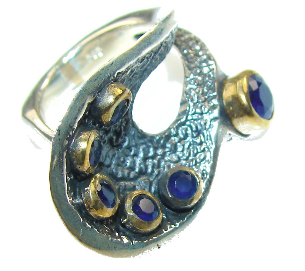 New Style!! Oxidized Silver,13ct. Sapphire Sterling Silver Ring s. 8