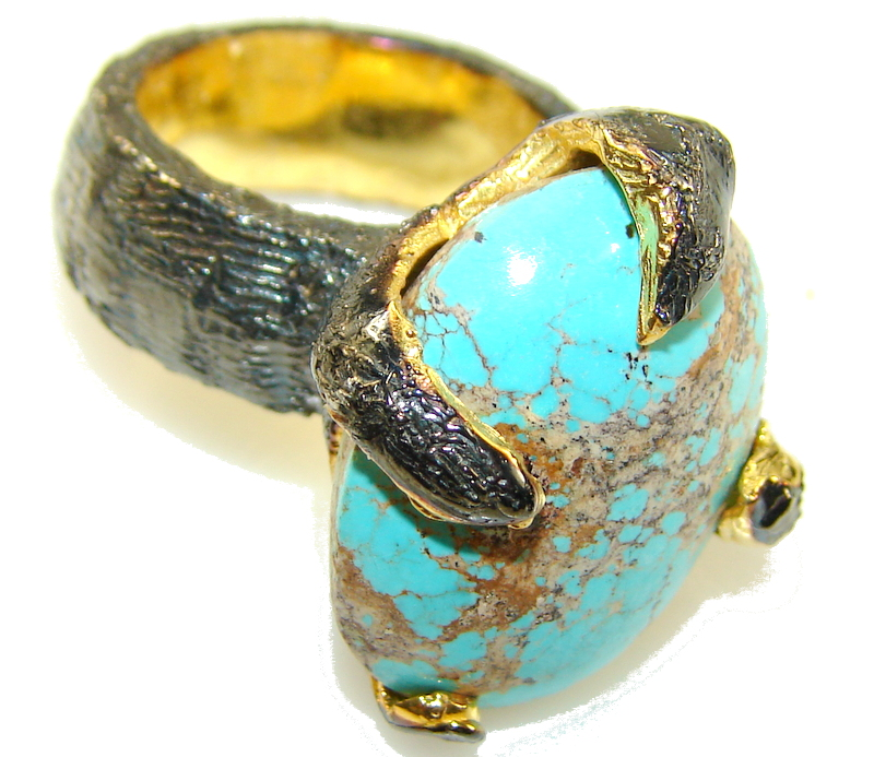 Perfect Gift!! 18ct. Gold Plated, Rhodium Plated Turquoise Sterling Silver Ring s. 5