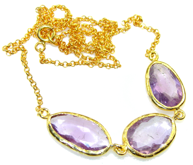 Natural Delicate Design!! Purple Amethyst, 18ct Gold Plated Sterling Silver necklace