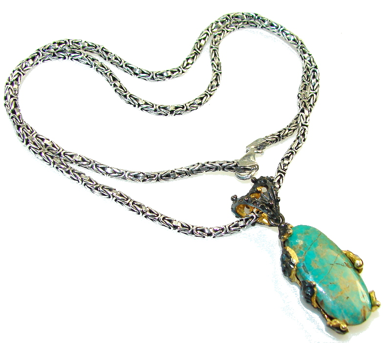 New Design!! Green Turquoise, Rhodium Plated, 18ct Gold Plated Sterling Silver necklace
