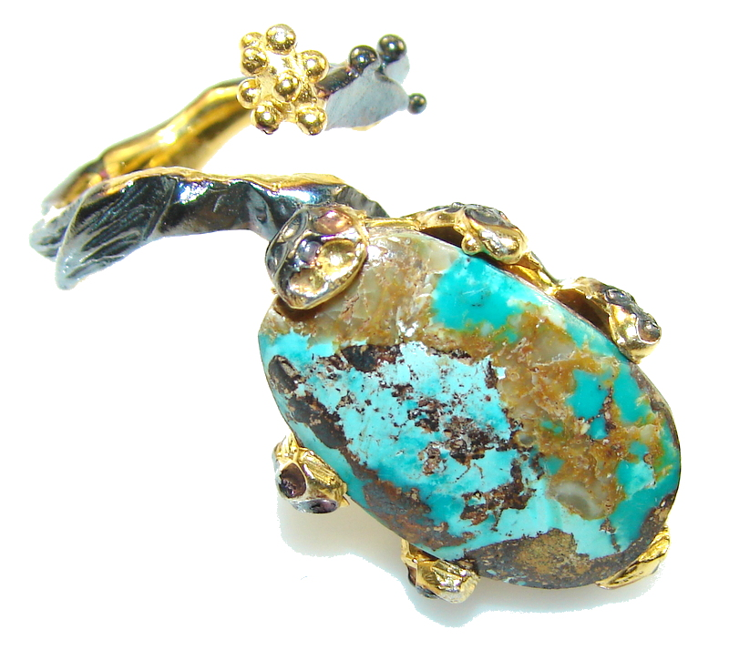 Stylish Blue Copper Turquoise, Rhodium Plated, 18ct Gold Plated Sterling Silver Ring s. 6