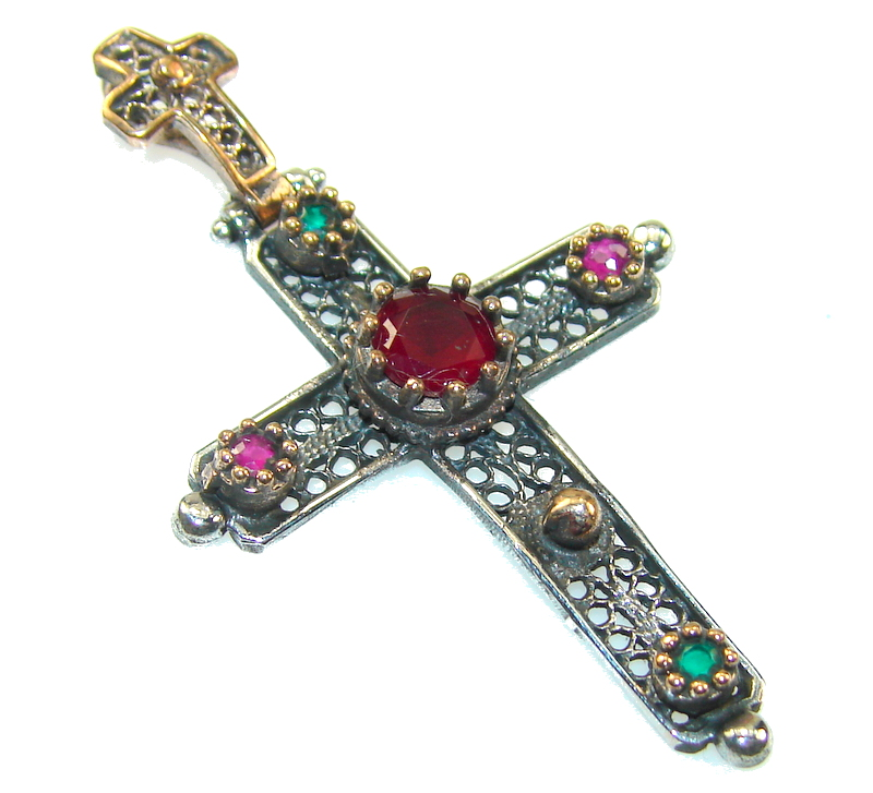 Turkish Red Ruby Sterling Silver Pendant - Cross