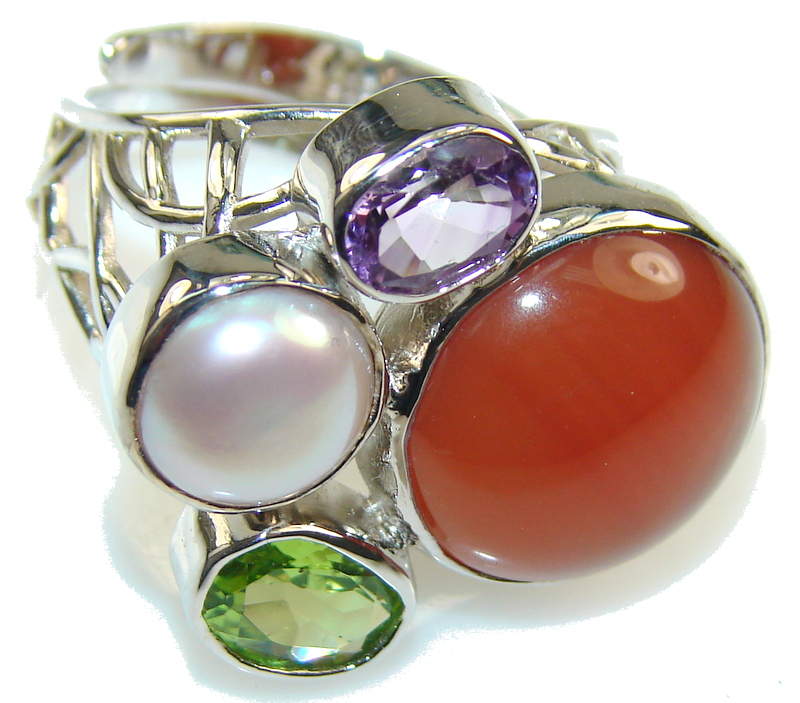 Amazing Design Brown Carnelian Sterling Silver ring s. 8 - adjustable