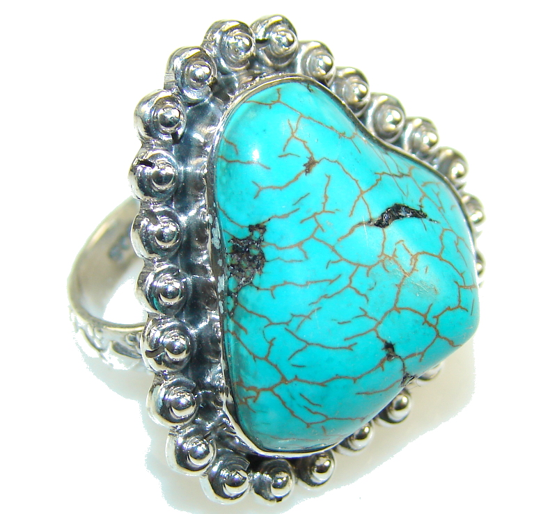 Classic Blue Turquoise Sterling Silver Ring s. 8