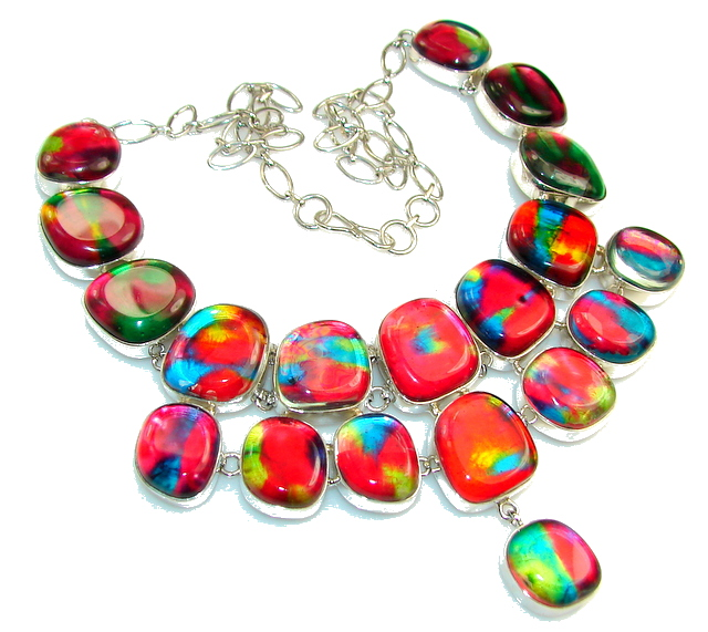 Mystical Eye!! Rainbow Dichroic Glass Sterling Silver necklace