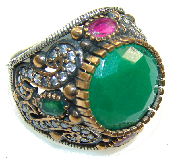 Garden Island!! Green Emerald Sterling Silver ring s. 8 3/4