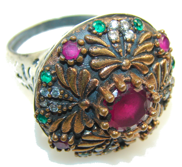 Classy Design!! Deep Red Ruby Sterling Silver ring s. 8