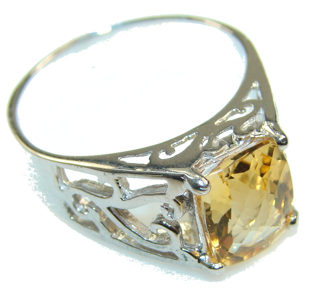 Awesome Light Yellow Citrine Sterling Silver ring s. 9 1/2