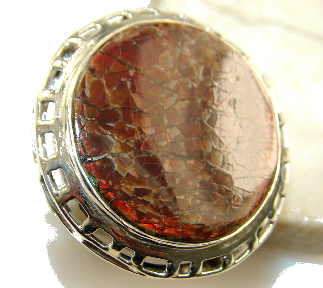Huge Precious Natural Red Ammolite Sterling Silver ring s. 11