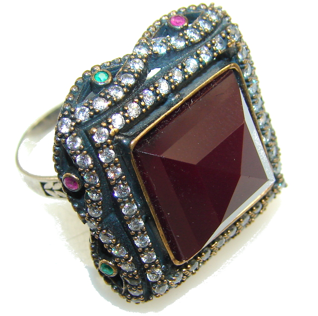 Classy Design!! Deep Red Ruby Sterling Silver ring s. 8 1/4