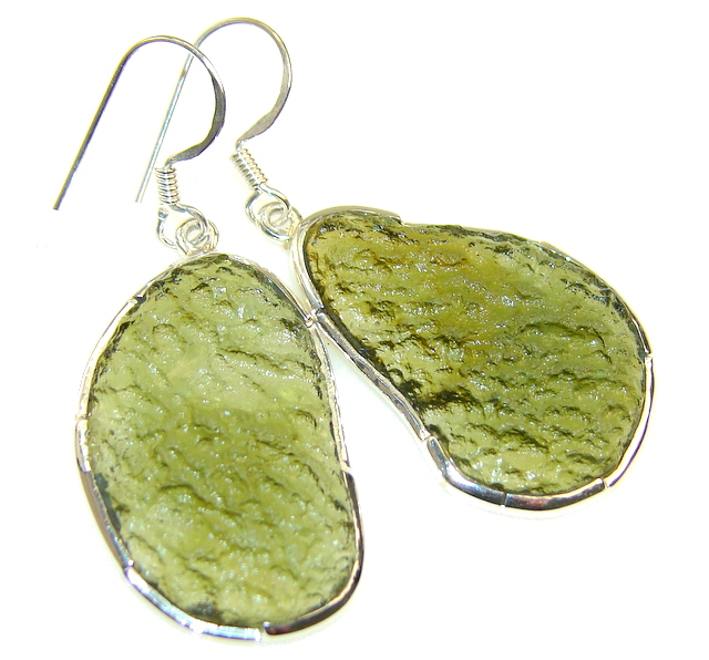 Excelent Green Moldavite Silver Sterling earrings