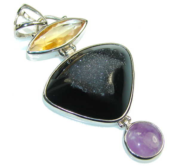 Big! Natural Beauty Black Agate Druzy Sterling Silver Pendant