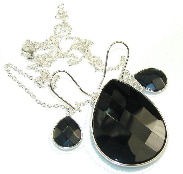 Image of Black Whisper!! Black Onyx Sterling Silver necklace / Earrings