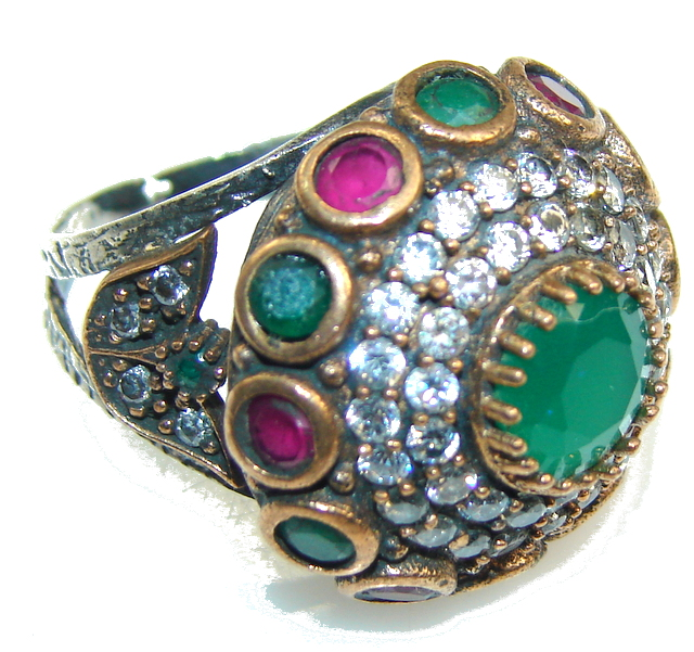 Turkish Design Green Emerald Sterling Silver ring s. 8 1/4