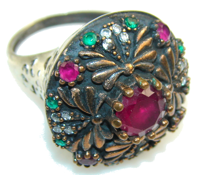 Turkish Style! Pink Ruby Sterling Silver ring s. 8 1/2