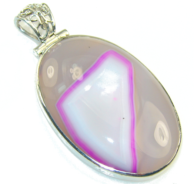 New Pink Agate Sterling Silver Pendant