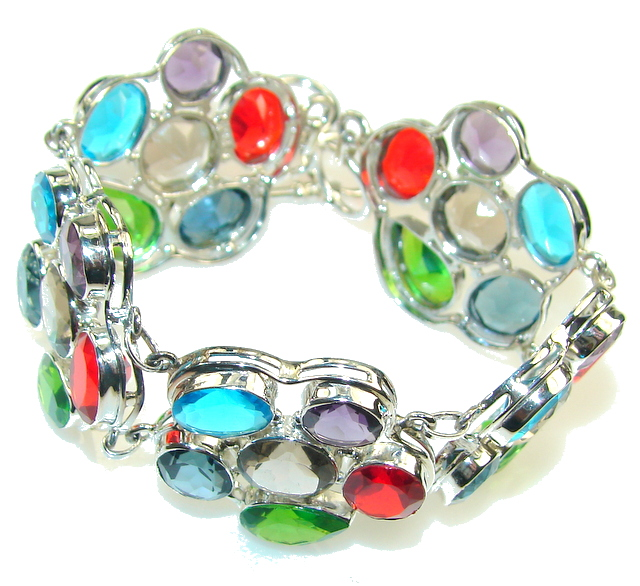 Dazzling! Great Quartz Sterling Silver Bracelet