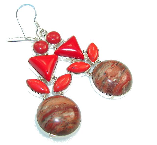 Classy Red  Jasper Sterling Silver Earrings