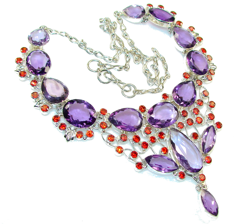 Amazing Design Of Purple Quartz Sterling Silver Necklace