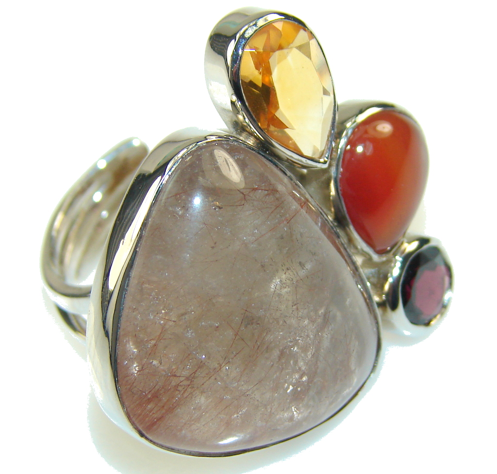 Amazing Brown Sandstone Sterling Silver ring s. 7 - Adjustable