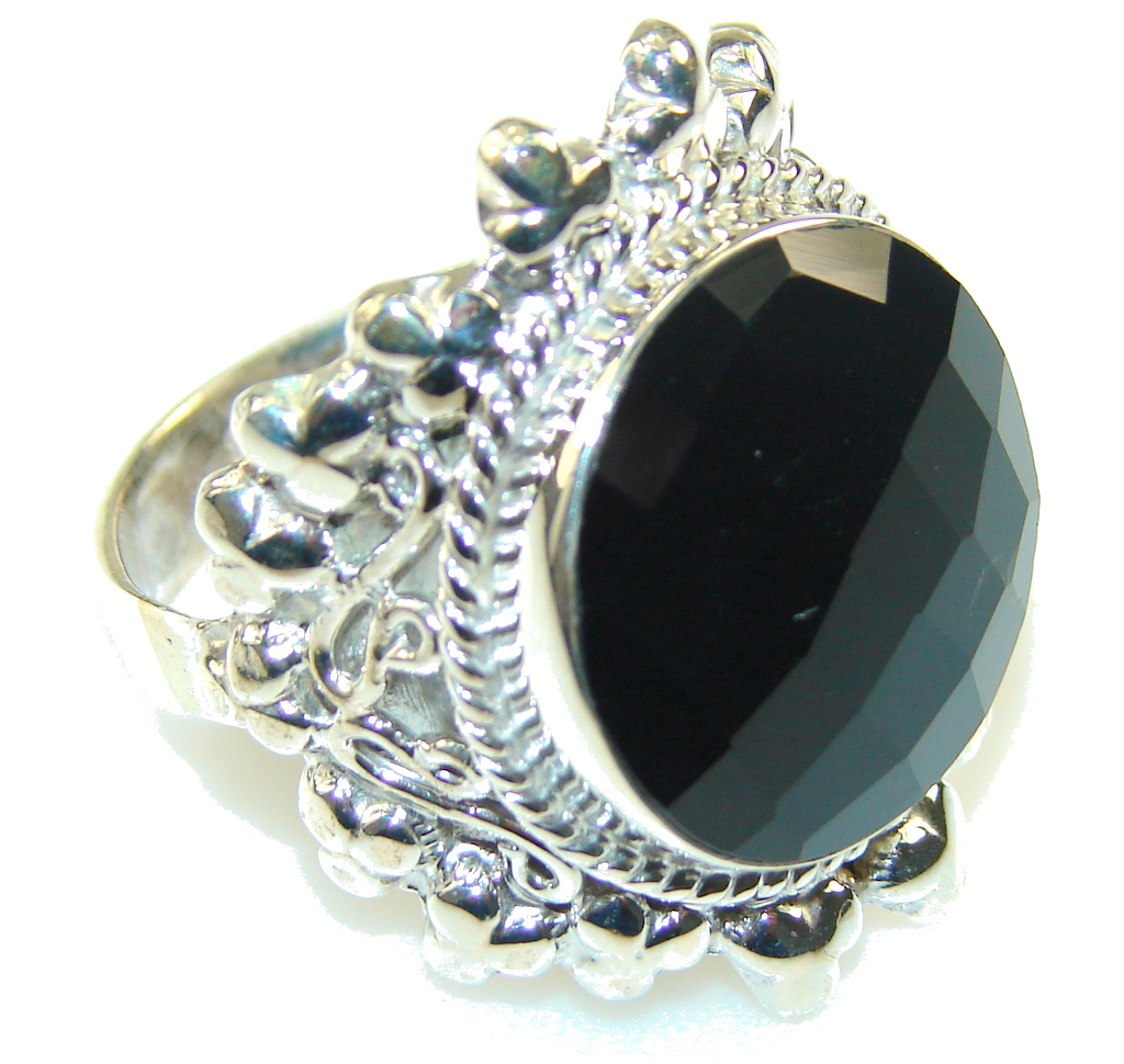 Excellent Black Onyx Sterling Silver Ring s. 12