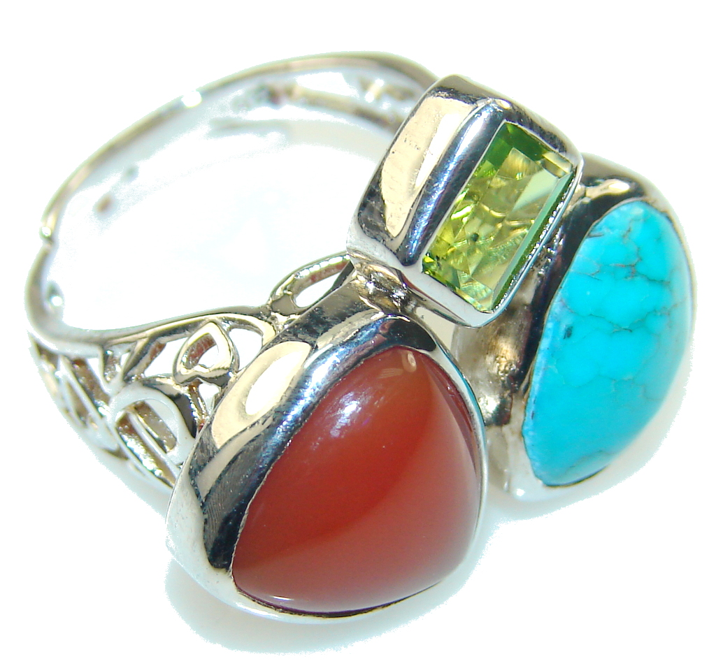 Stylish Turquoise & Carnelian Sterling Silver Ring s. 8 - Adjustable