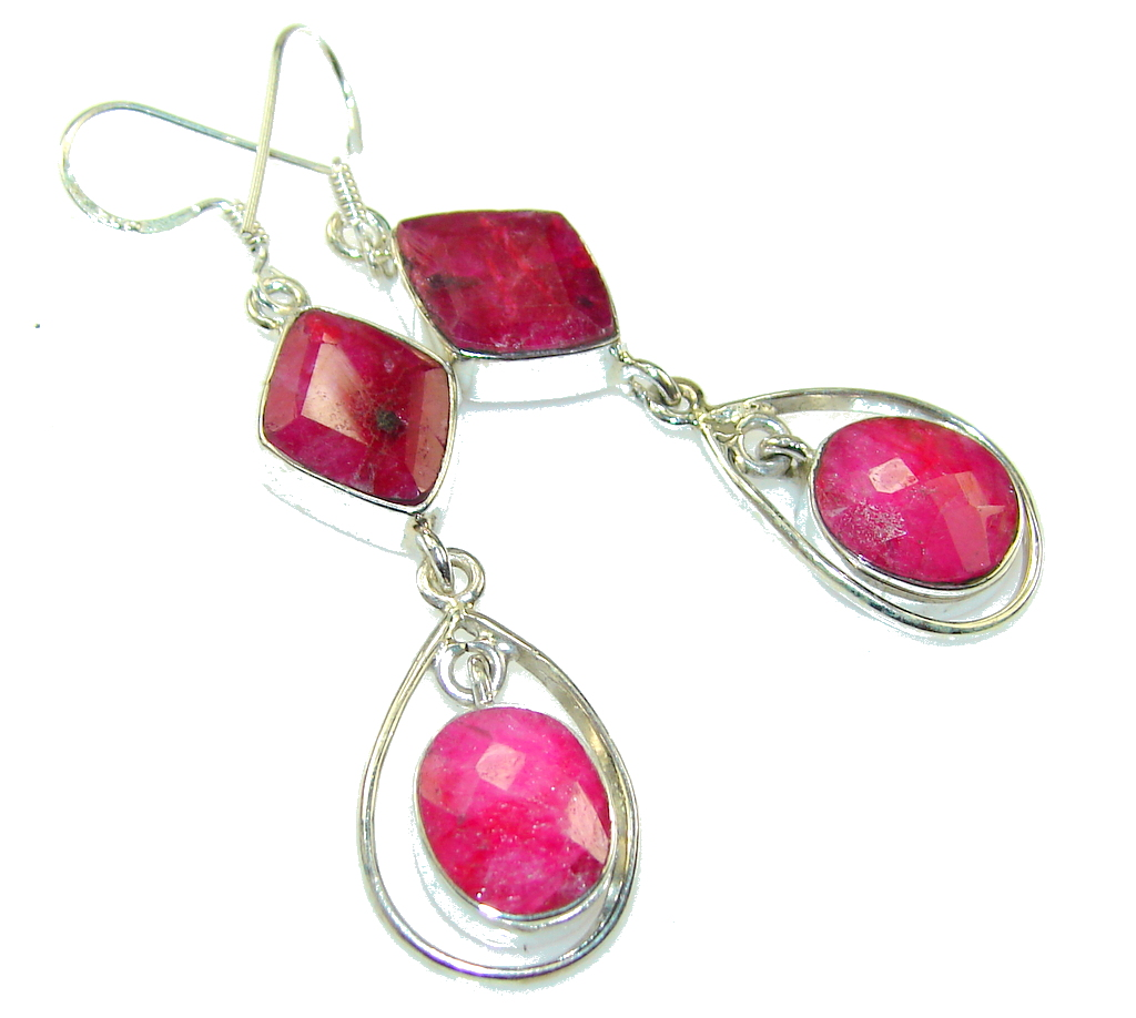 Delicate Pink Ruby Sterling Silver earrings