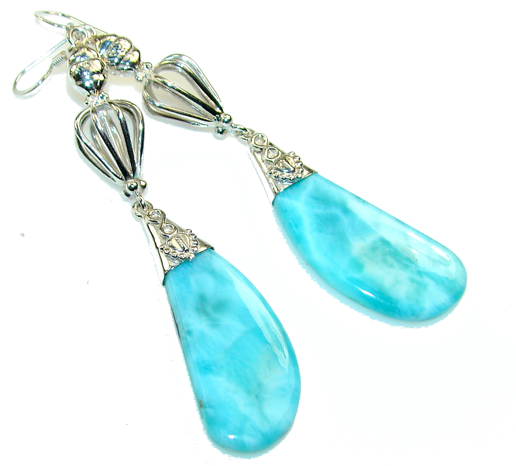 Amazing Blue Larimar Sterling Silver earrings