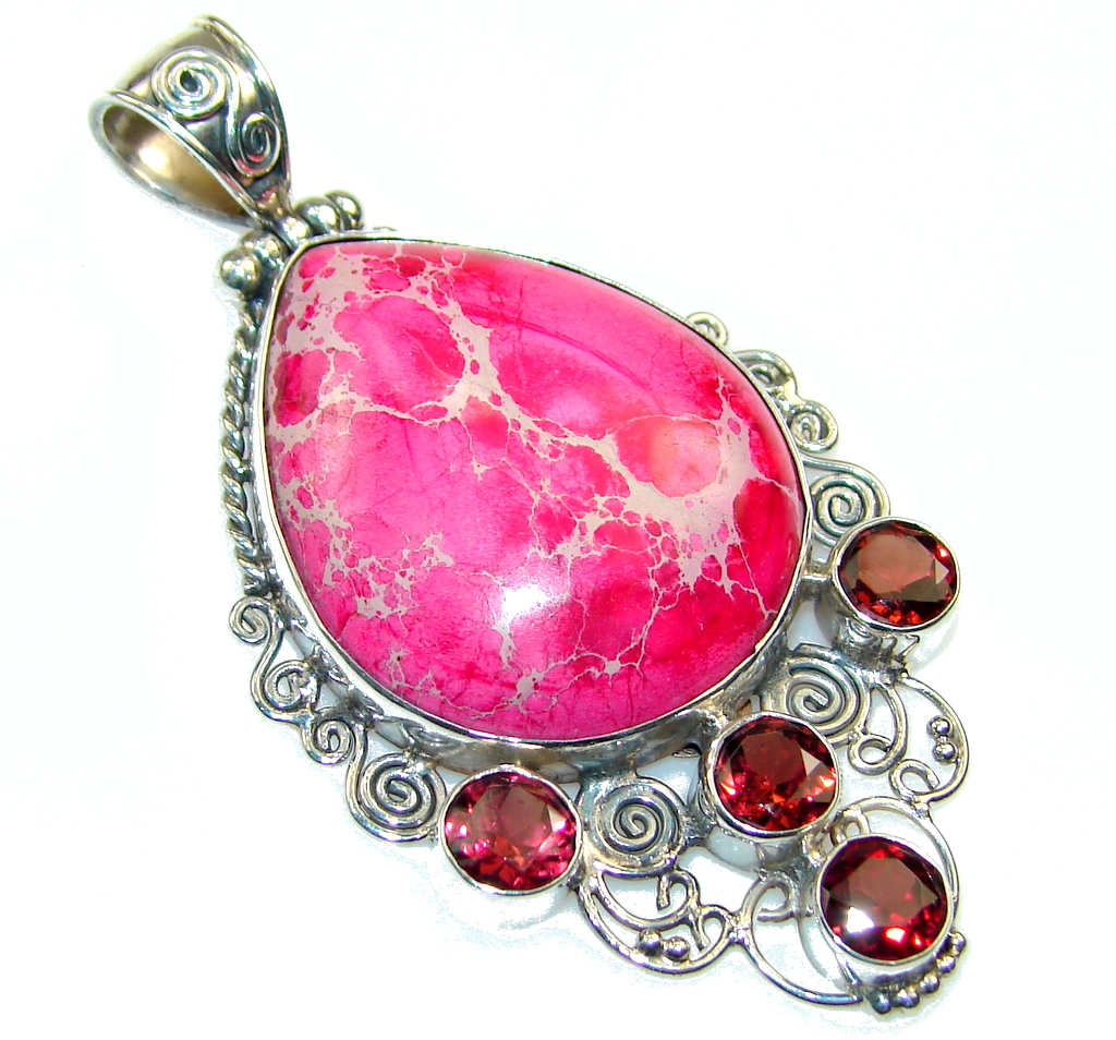 Amazing Pink Sea Sediment Jasper Sterling Silver Pendant