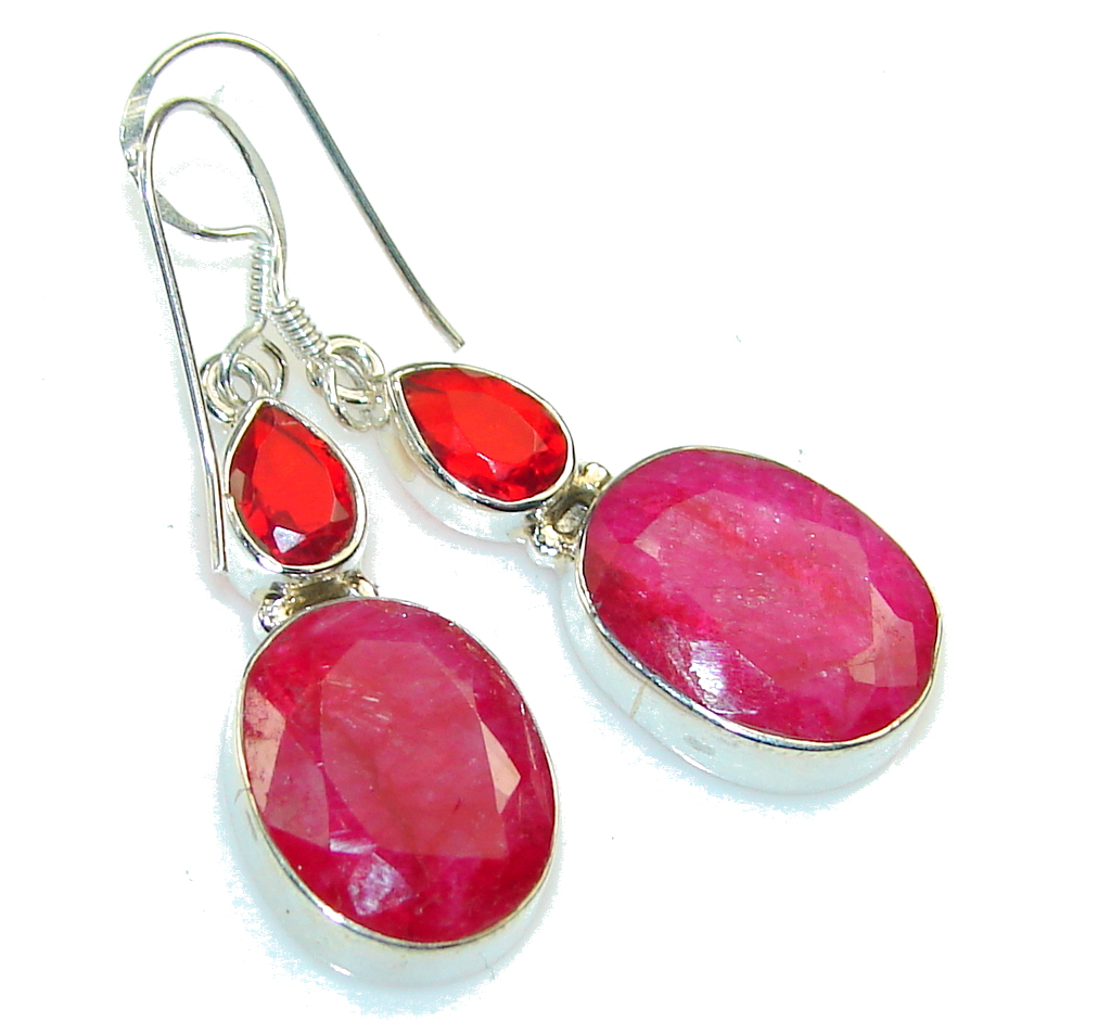 Lovely Pink Ruby Sterling Silver earrings