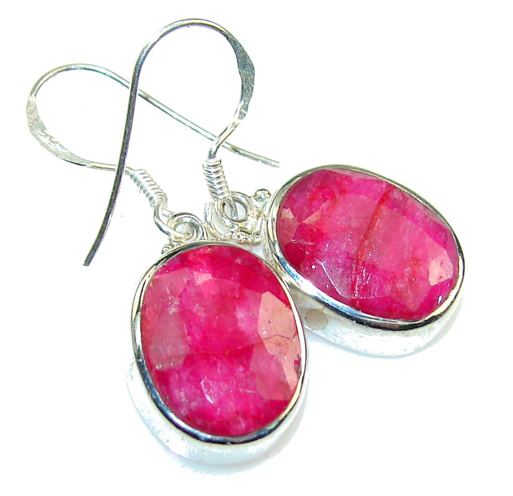 Natural Pink! Ruby Sterling Silver earrings