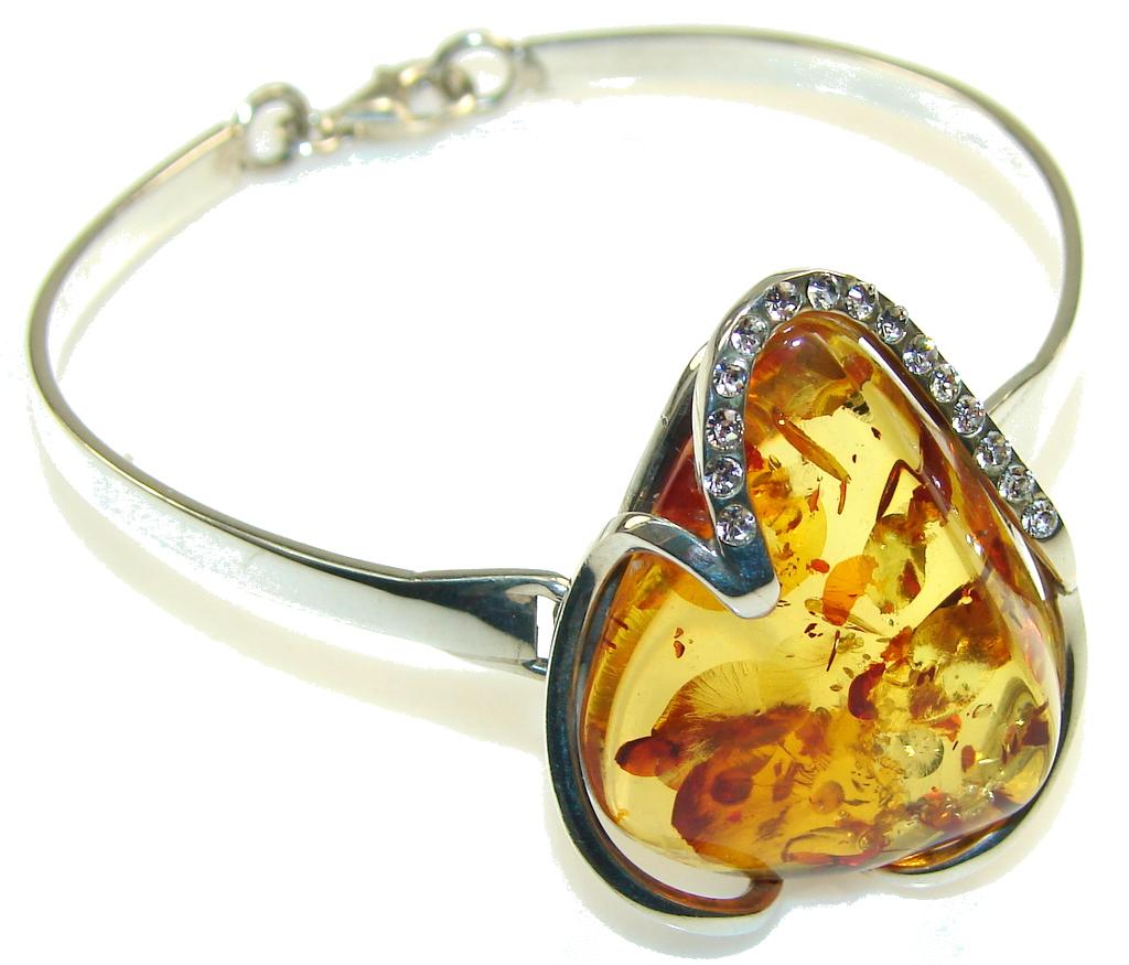 Rich Personality!! Polish Amber Sterling Silver Bracelet