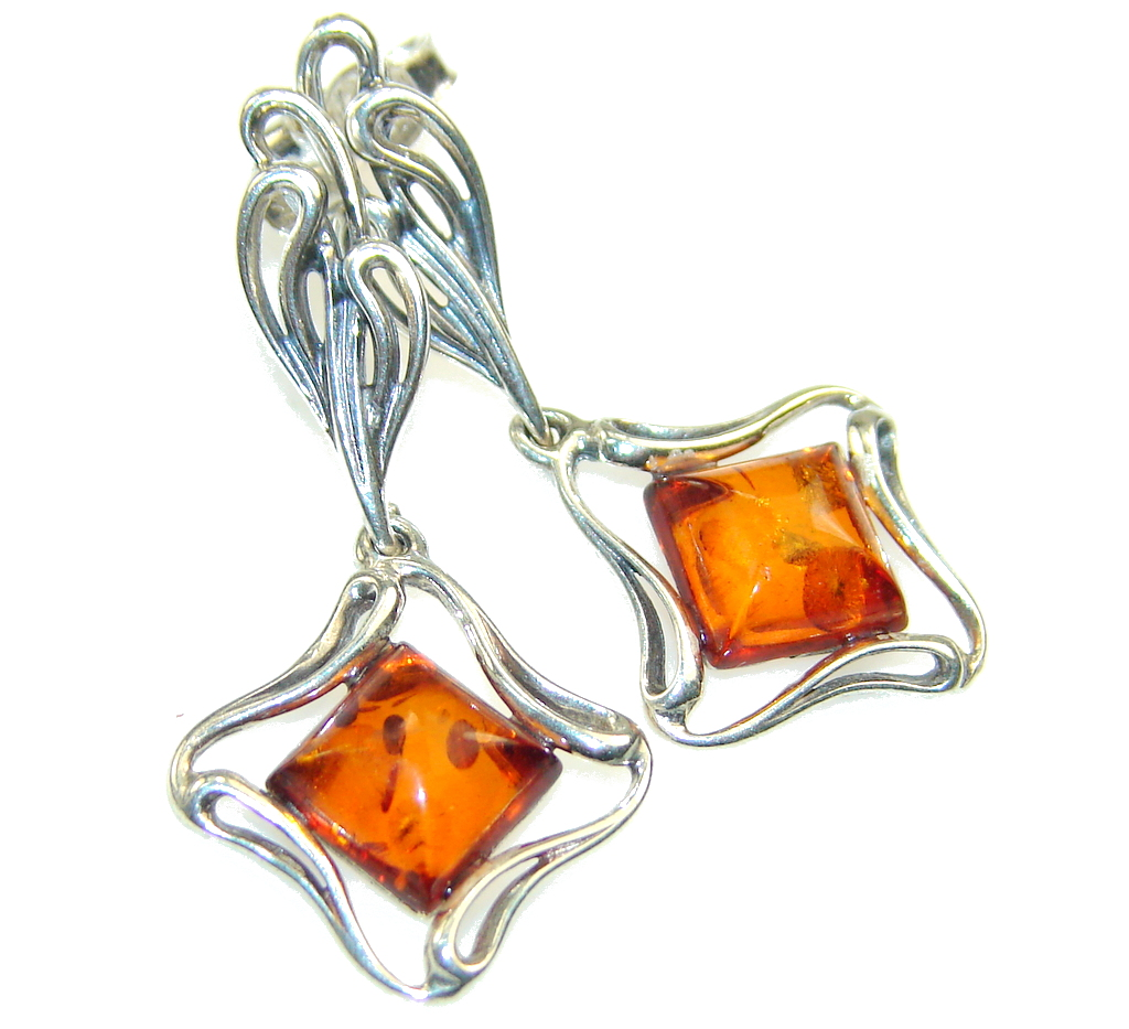Precious Brown Polish Amber Sterling Silver Earrings