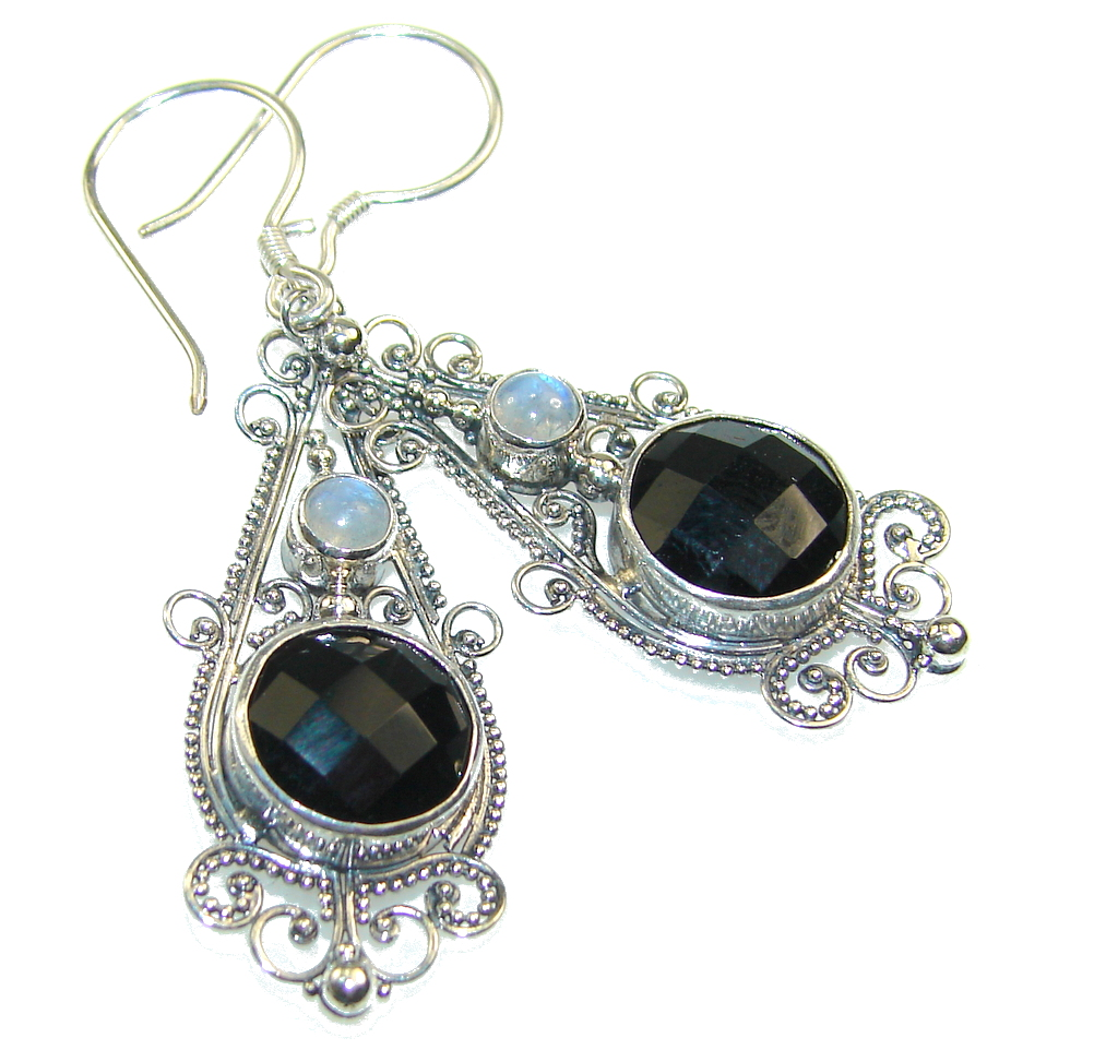 Amazing Black Onyx Sterling Silver earrings