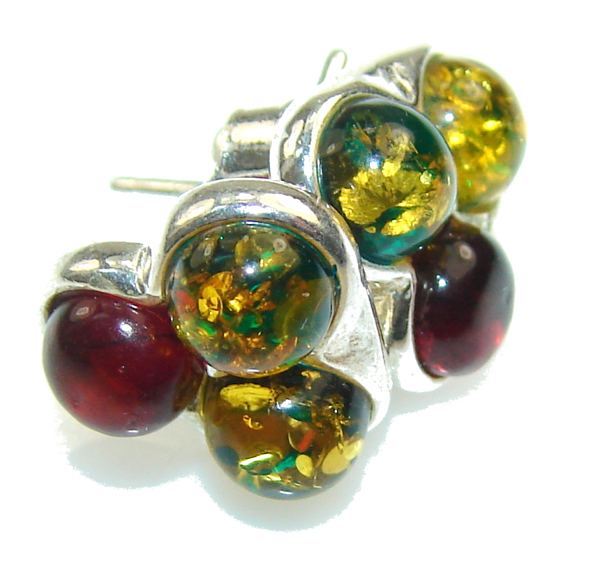 Petite Multicolor Polish Amber Sterling Silver Earrings