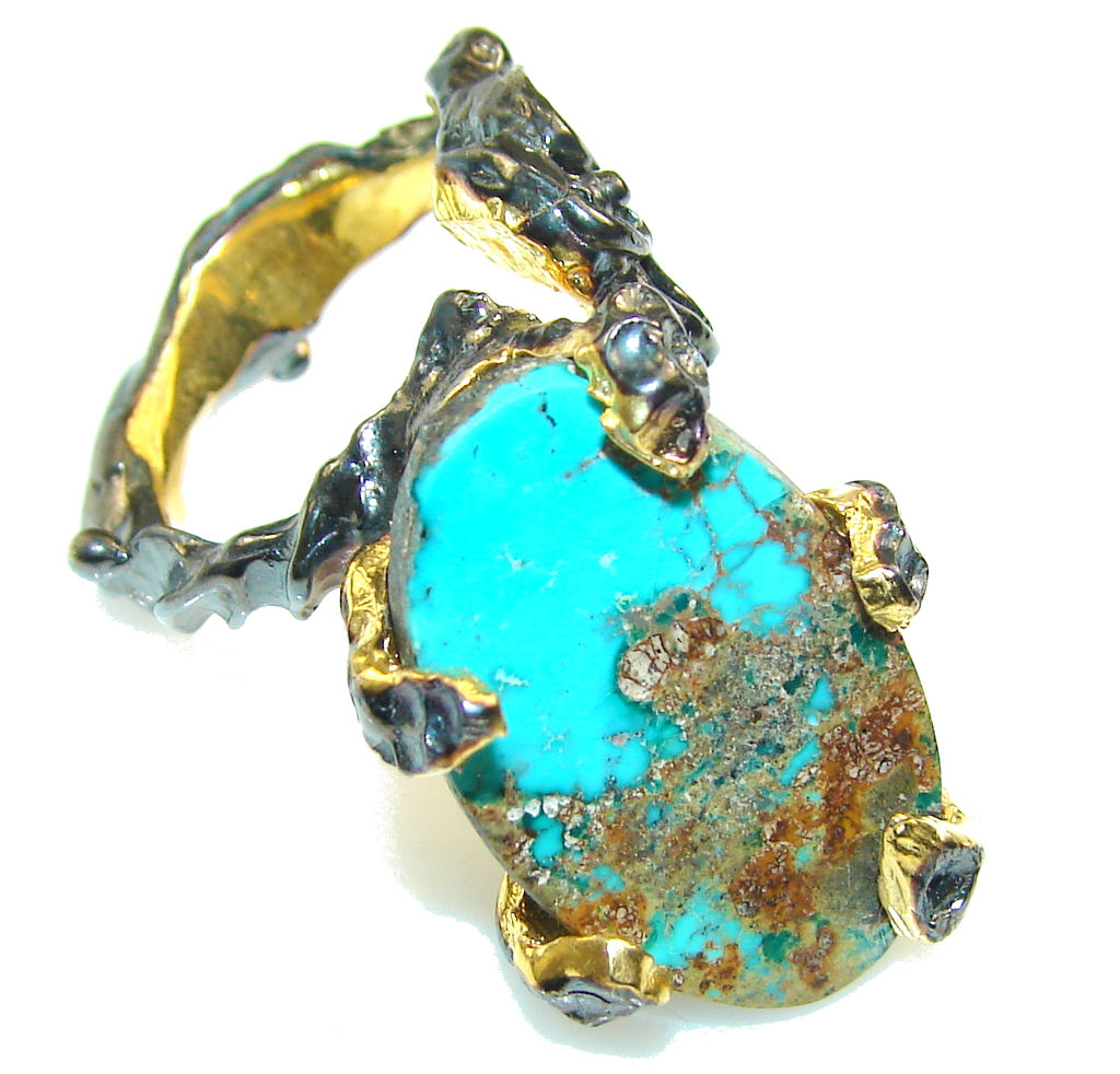 Amazing 24ct. Gold & Black Rodium Plated Turquoise Sterling Silver Ring s. 6
