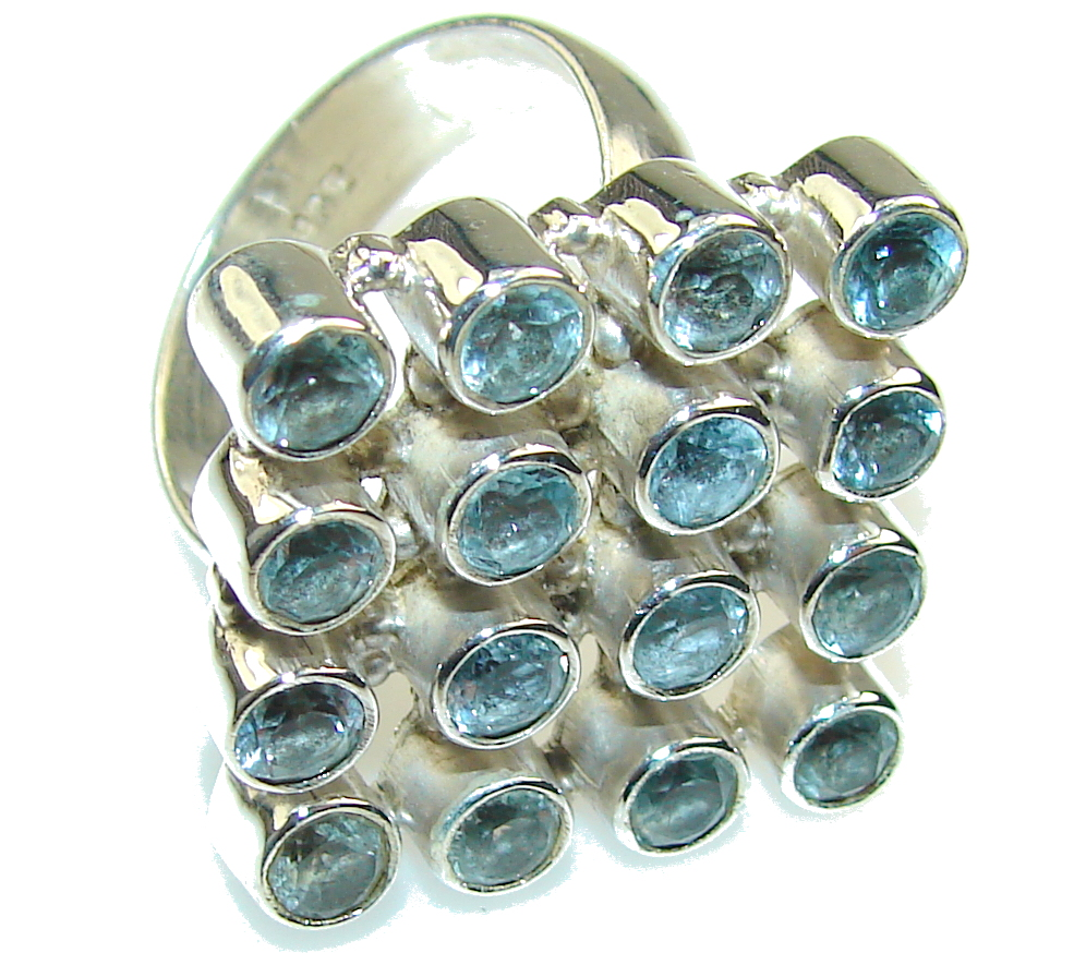 Amazing Swiss Blue Topaz Sterling Silver Ring s. 8