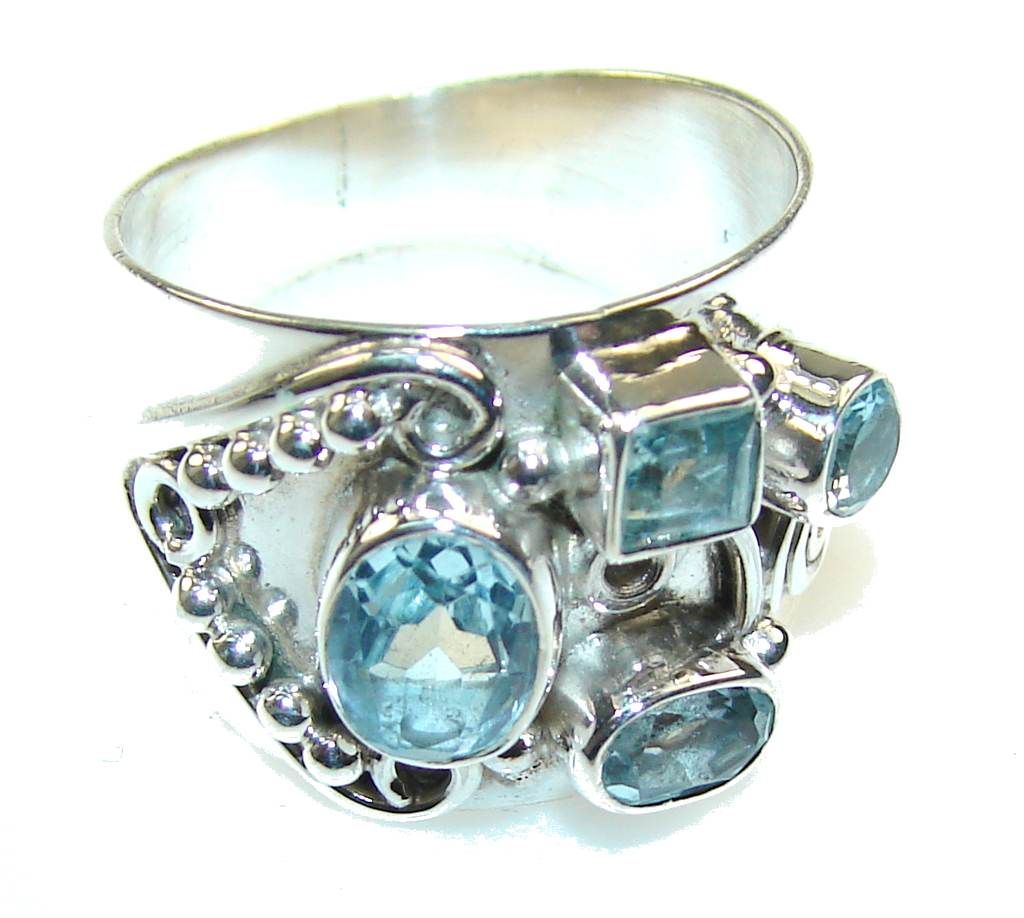 Amazing Swiss Blue Topaz Sterling Silver Ring s. 8 1/4