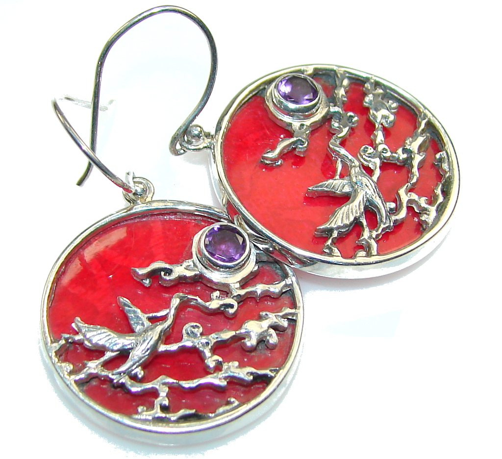 Image of The One! Fossilized Coral Sterling Silver earrings