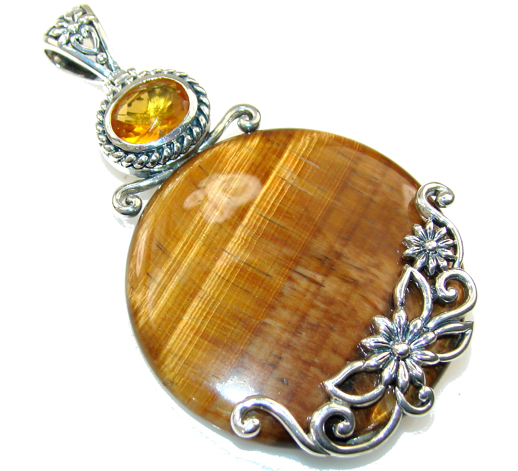 Amazing Design!! Tigers Eye Sterling Silver Pendant
