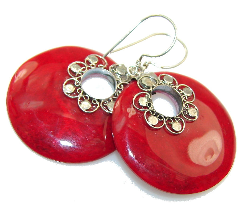 Store Of Love!! Fossilized Coral Sterling Silver earrings