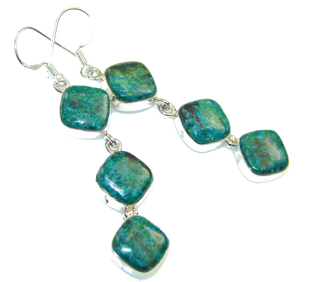 AAA Top Rich Aventurine Sterling Silver earrings