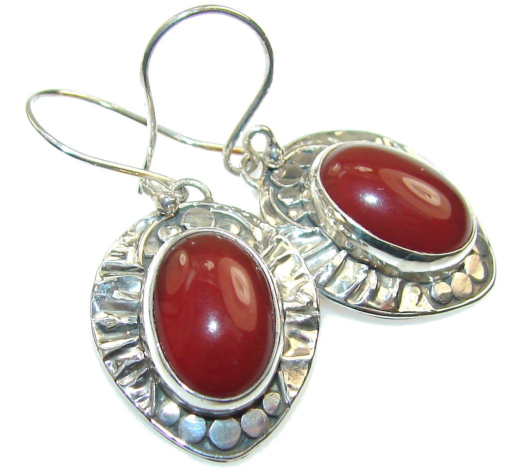 Amazing Design! Carnelian Sterling Silver earrings