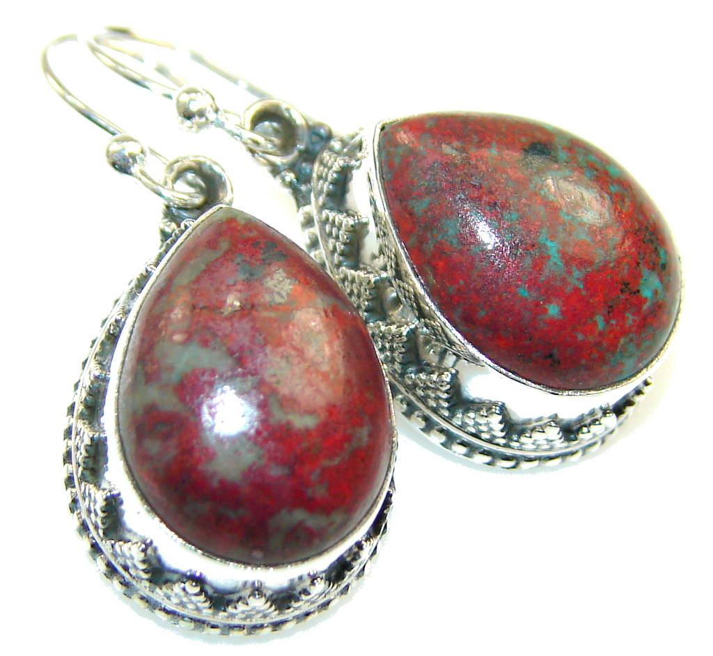 Amazing Red Sonora Jasper Sterling Silver Earrings