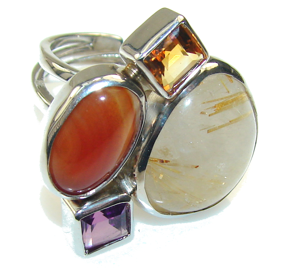 Amazing Golden Rutilated Quartz Sterling Silver Ring s. 8